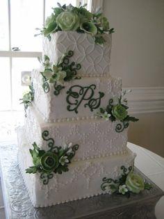 Green Floral and Monogram Wedding Cake