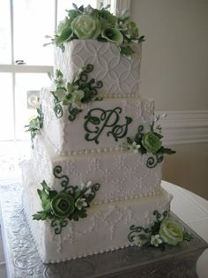 Green Floral and Monogram Wedding Cake