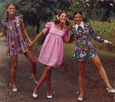 Reminds me of me & my 2 sisters, we had dresses like this...1973 dress fashions :-)
