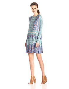 BCBGMAXAZRIA Womens Jeanna Long Sleeve Knit Dress Blue Depths ComboSmall *** For more information, visit image link.