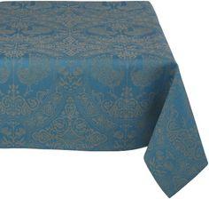 Mahogany Peacock 60-Inch by 120-Inch Teal Tablecloth, Cotton Jacquard Mahogany,http://www.amazon.com/dp/B002S0NHT6/ref=cm_sw_r_pi_dp_RDd8sb114GE1RTW3