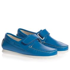Blue Leather Boat Shoes - Shoes