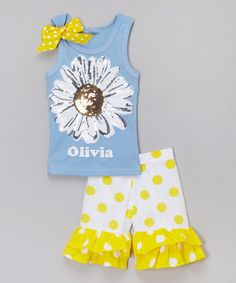 Look at this #zulilyfind! Beary Basics Blue Daisy Personalized Tank & Shorts - Toddler & Girls by Beary Basics #zulilyfinds