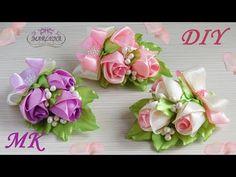 Розы канзаши мастер-класс. Заколка/бутоньерка с бутонами роз МК/DIY - YouTube