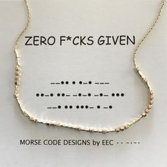 ZERO FCKS GIVEN Morse Code Necklace in Sterling Silver or 14k