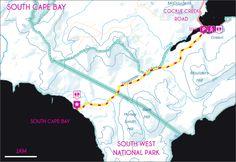 Tasmanian Bushwalking Guide. South Cape Bay, Cockle Creek | Walk Grade: Medium | Time: 5 Hours | Distance: 16km | Parks Pass Needed