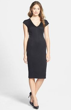 Free shipping and returns on Marc New York by Andrew Marc Knit Midi Dress (Regular & Petite) at Nordstrom.com. Quilt-like knitting centers a chic cap-sleeve, V-neck sheath dress designed with a lean pencil profile.