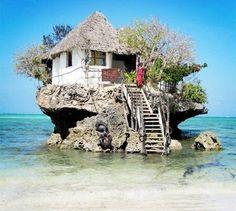 The Rock Restaurant in Zanzibar, Tanzania, via It's a beautiful world. One of the world's unique restaurants. The Rock Restaurant in Zanzibar, Tanzania (via designerhk). Places Around The World, The Places Youll Go, Places To Visit, Around The Worlds, Wonderful Places, Beautiful Places, Amazing Places, Amazing Things, Unusual Homes