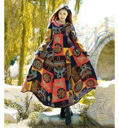 Anysize Winter Dress retro loose hem cotton padded robe with