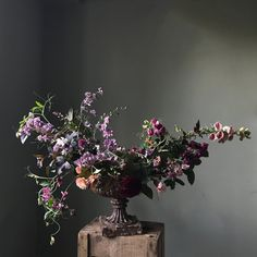 I like: the dark, moody photo edit; overall shape and movement with the materials (for a large urn design); Main floral ingredients: larkspur, sweet pea on the vine, heuchera ('coral bells'). Beautiful Flower Arrangements, Wedding Flower Arrangements, Floral Arrangements, Beautiful Flowers, Wedding Flowers, Burgundy Flowers, Fall Flowers, Summer Flowers, Seasonal Flowers