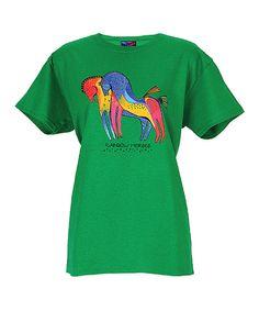 Laurel Burch Green & Pink Rainbow Horses Short-Sleeve Tee by Laurel Burch #zulily #zulilyfinds