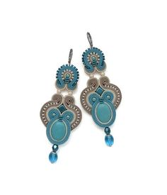Turquoise Chandelier Earrings Turquoise Dangle by BeadsNSoutache