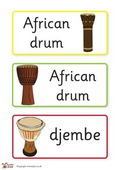 Teacher's Pet - Instruments from around the world - FREE Classroom Display… School Displays, Classroom Displays, Music Classroom, Drum Lessons, Music Lessons, Around The World Theme, Around The Worlds, African Drum, Teachers Pet