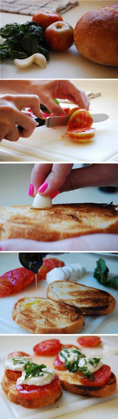 Bruschetta by Cupcakes & Cashmere -Use high quality extra virgin olive oil. -loaf of rustic, Artisan bread -Cut the garlic in half and rub the open end on the freshly toasted bread. The heat from the bread melts the garlic evenly without being overpowering. -Finish with a touch of premium kosher or sea salt (Maldon's flaky crystals).