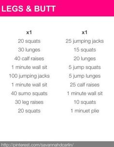 legs and butt workout.. Sounds like a killer