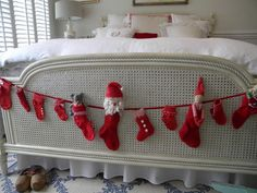 Mix things up by placing holiday garland in a slightly unexpected place  - the foot of the bed!