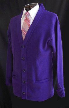 Vintage 60s Men's Sweaters  - 1960s Royal Purple Letter School Cardigan Sweater  -  Size L Large