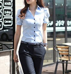 New Korean Style Women's Slim Fit Shirt Fashion Blouse Puff Sleeve Tops 2 Colors Tomboy Fashion, Office Fashion, Work Fashion, Asian Fashion, Office Outfits, Casual Outfits, Cute Outfits, Mode Shorts, Style Casual