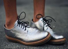 Shiny silver shoes