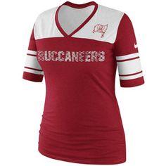 Women's Tampa Bay Buccaneers Majestic Red/Pewter Draft Me Fashion T-Shirt