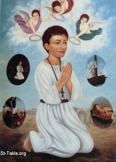 Abanoub of Nehisa, the great martyr +Feast day July He was martyred when he was 12 years old. Religious Pictures, Religious Art, Anthony The Great, Catholic Saints, Roman Catholic, Holy Mary, Archangel Michael, Bottle Painting, Mythology