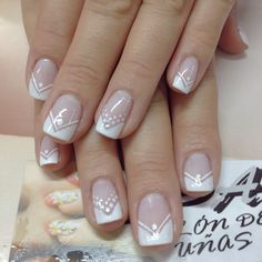 Nails noivas arte nails, french nails y pretty nails Fabulous Nails, Gorgeous Nails, Cute Nails, Pretty Nails, Diy Ongles, Hair And Nails, My Nails, Wedding Nails Design, Trendy Nail Art