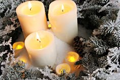 Holiday tip: Use instant snow to add a festive look to a collection of pillar candles #christmas #tip