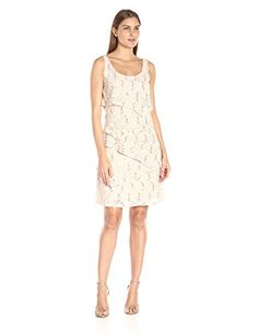 Ronni Nicole Womens Sleeveless Tier Sequin Lace Dress Beige 6 >>> Want to know more, click on the image.