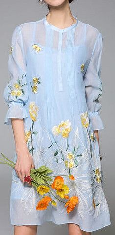 Twin Set Floral Embroidered Dress