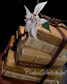 Vintage Books Wedding Cake - wouldn't have this as my wedding cake but the cake looks very cool nonetheless. shoes & bag off Today I DO . Pretty Cakes, Beautiful Cakes, Amazing Cakes, How To Stack Cakes, Fancy Cakes, Crazy Cakes, Macarons, Cake Pops, Wedding Book