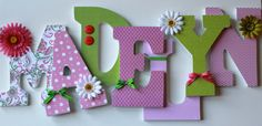 Custom Wooden Wall Hanging Nursery Letters  Lime by LetterChic, $18.00