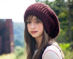 purple slouchy knit hat
