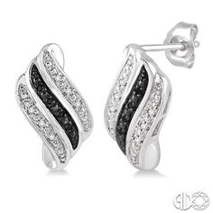 Impress your love with these brilliant look diamond earrings crafted in lustrous sterling silver. These clever wave-shaped earrings are lined with 30 pave set round cut black and shimmering white diamonds. These lovelies closes with a secured clasp. Total diamond weight is 1/6 ctw. Price: $199.00