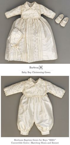 """Baptism Gown for Boys """"B001"""" one of our classics and a favorite.  This christening outfit is 100% silk available in white or ivory, matching shoes and bonnet are included."""