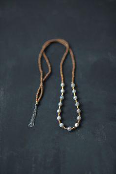Mixed Media Boho Necklace / Grey Silver Brown Gold Necklace /  Gemstone Necklace / Labradorite