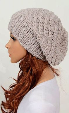 Slouchy woman handmade knitted hat clothing cap beige Love this hat! Crochet Slouchy Hat, Knitted Hats, Knit Crochet, Slouchy Beanie, Loom Knitting, Knitting Patterns, Crochet Patterns, Crochet Crafts, Crochet Projects