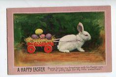Vintage Easter Postcard  white Easter Bunny by sharonfostervintage