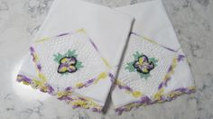VINTAGE Pair Pillowcases with Hand Embroidered Lace & Purple Violets by PrimaMona on Etsy