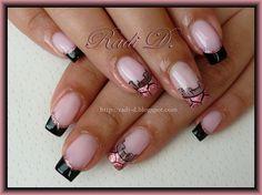 Black French & Pink Lace by RadiD - Nail Art Gallery nailartgallery.nailsmag.com by Nails Magazine www.nailsmag.com #nailart