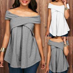 Women Off The Shoulder Short Sleeve Sweatshirt Pullover Tops Blouse Shirt Elegantes Business Outfit, Blog Couture, Mode Plus, Mode Chic, Next Clothes, Ladies Dress Design, Fashion Stylist, Latest Fashion For Women, Shirt Blouses