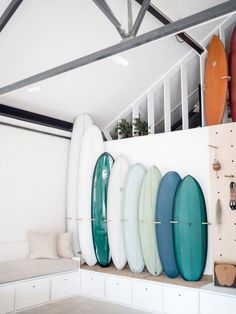 Surfers turn run-down Cornwall factory into Open surf shop and cafe Surf Room, Beach Room, Surf Shack, Beach Shack, Surfboard Rack, Surfboard Storage, Surfboard Decor, Surfboard Painting, Deco Surf