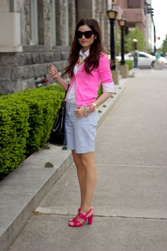 Striped shorts, hot pink