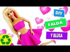 DIY | Ropa para muñecas: Falda y blusa sin coser ni pegar en 1 minuto - manualidades para muñecas - YouTube