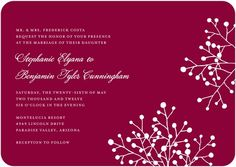 Signature White Wedding Invitations Delicate Spray - Front : Chambord