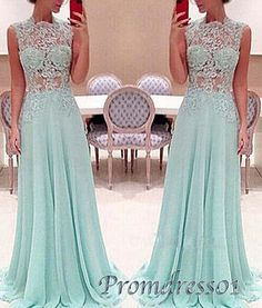 Elegant blue lace chiffon long prom dress, ball gown, modest prom dress for teens #coniefox #2016prom