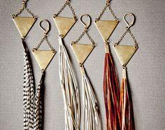 Long Leather Earrings Big Fringe Earrings Extra Long by Chrysalism