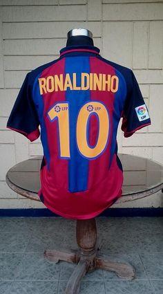 448572969 BARCELONA FC 2003-2004 LA LIGA 2ND VINTAGE LEGENDARY RONALDINHO 10 JERSEY  NIKE SHIRT CAMISETA