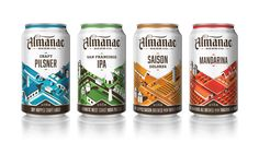 """Last year we had the opportunity to design a series of limited edition  fresh beer bottles for San Francisco's Almanac Beer Co. Almanac's """"Farm to  Barrel"""" process takes advantage of local, seasonal ingredients and has  landed them on the map as one of the fastest growing breweries on the west  coast. We were thrilled to work with Almanac again on their first venture  into canned beer. Each beer's isometric illustration focuses on part of the  beer making process - from the orange groves…"""