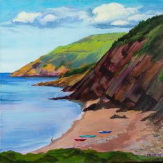 "Fei Lu | Cabot Trail Cliffs - Nova Scotia 2014 | ""... travelling plein air painter who documents the beauty of the world and the most memorable places she has visited."" From Ontario"
