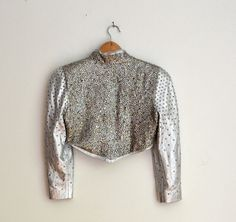 Amazing Vintage 80s Metallic Silver Studded Leather Jacket with Rhinestones and Silver Studs, Size XS